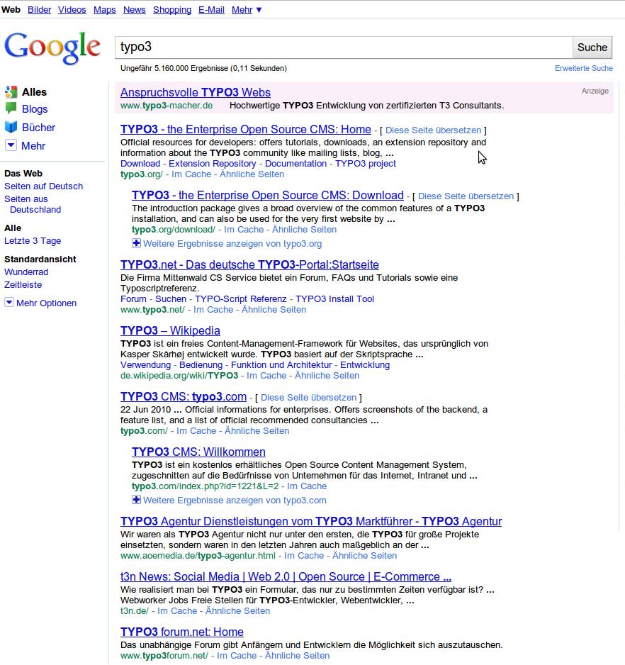 Google Suche Typo3 erste Seite 10 Ergebnisse