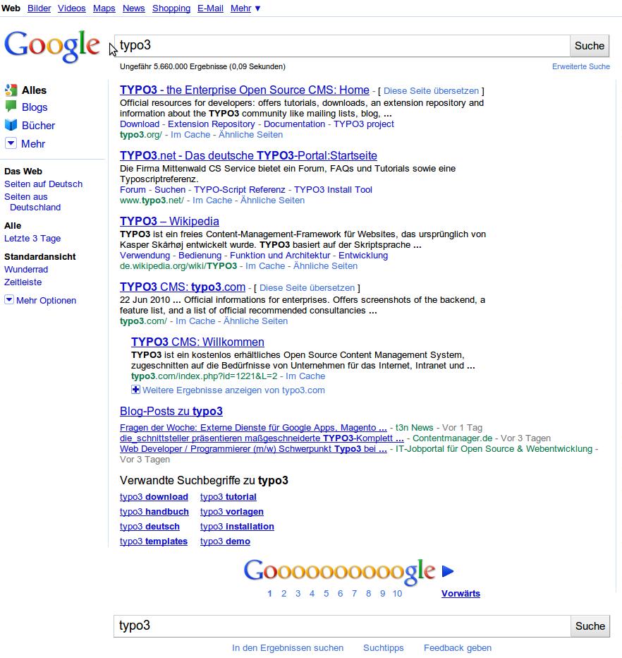 Google Suche Typo3 erste Seite 5 Ergebnisse